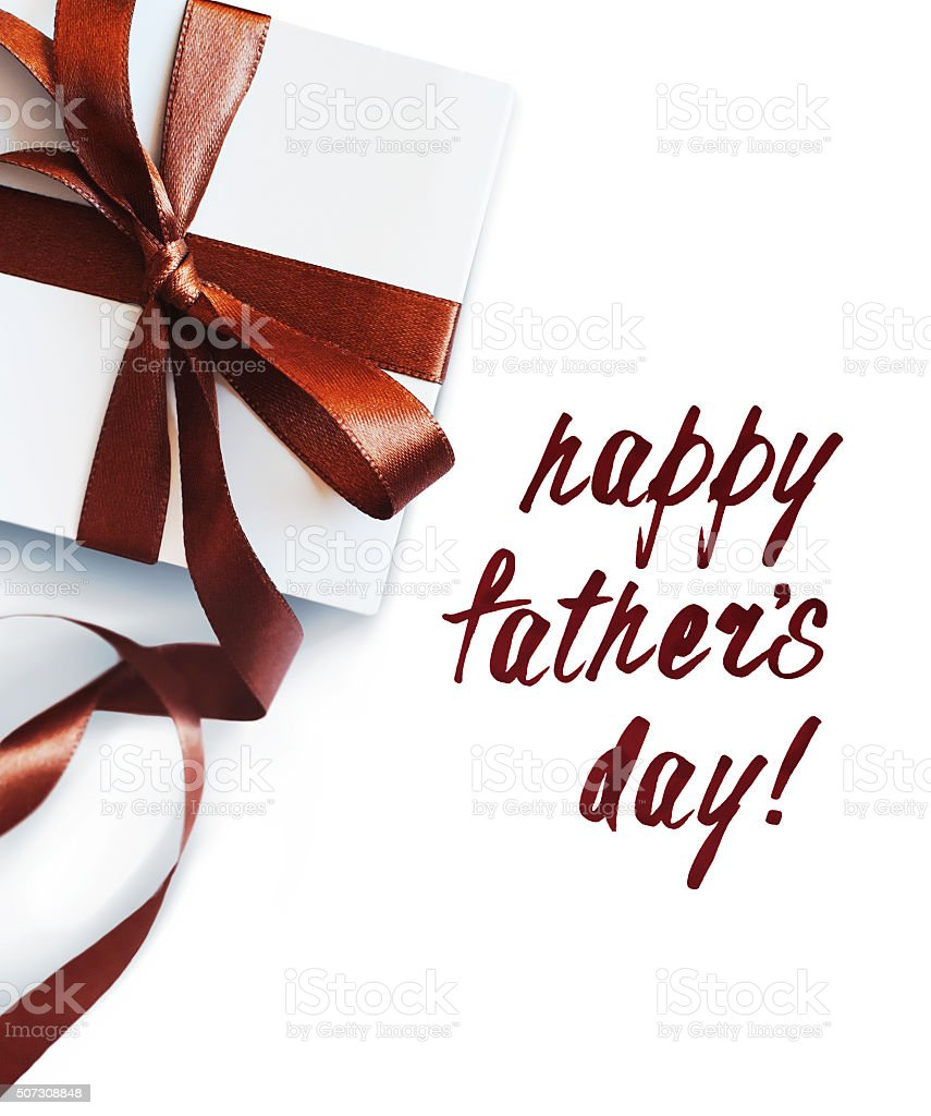 Festive Box Bow Congratulation with Fathers Day Isolated White stock photo