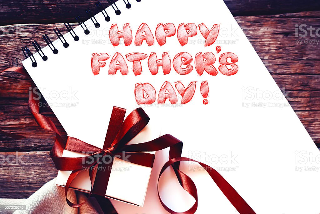 Festive Box with Bow Album Congratulation Father's Day Isolated stock photo
