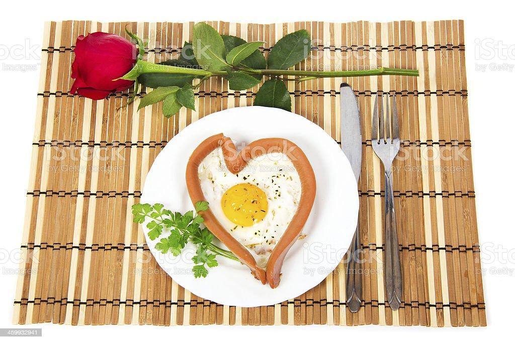 Festive breakfast on Valentine's Day stock photo