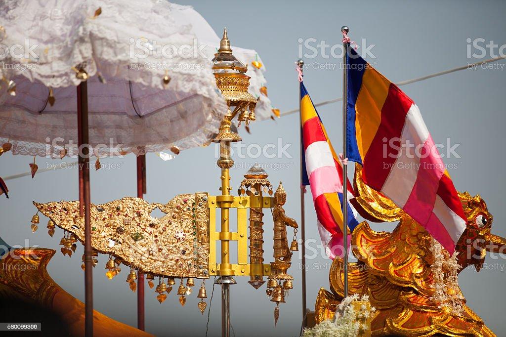Festive Burmese golden Buddhist ornaments stock photo