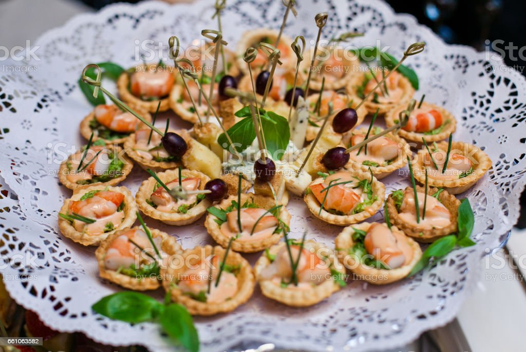 Festive canapes stock photo