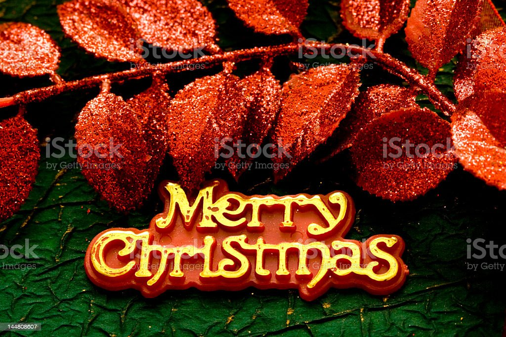 """Festive card with words """"Merry Christmas"""" royalty-free stock photo"""