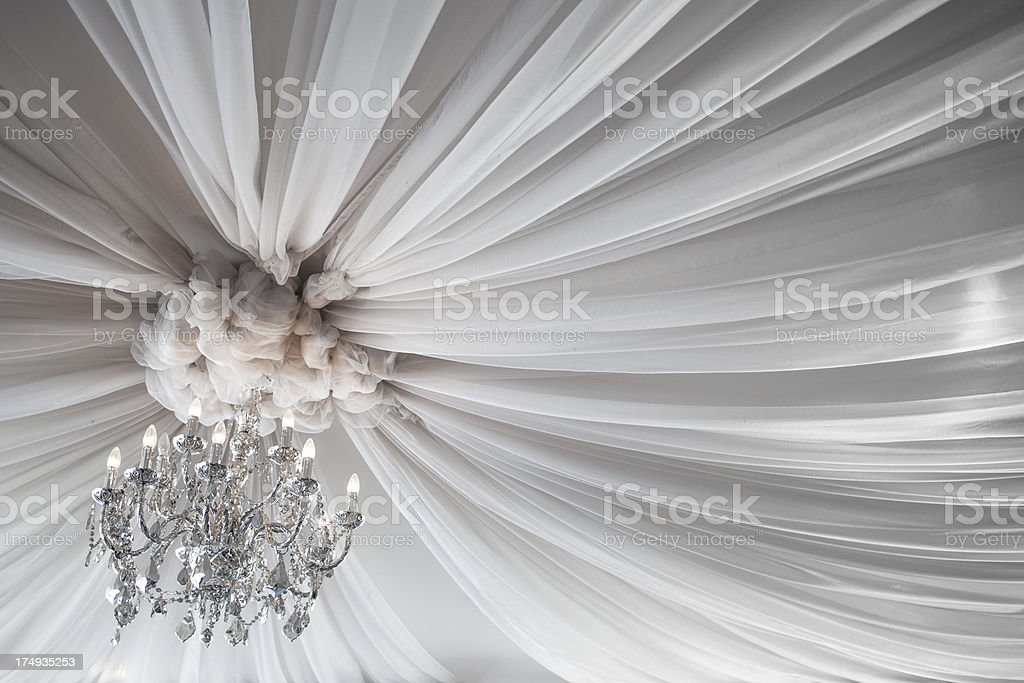 Festive ceiling decoration for weddings or ballroom stock photo