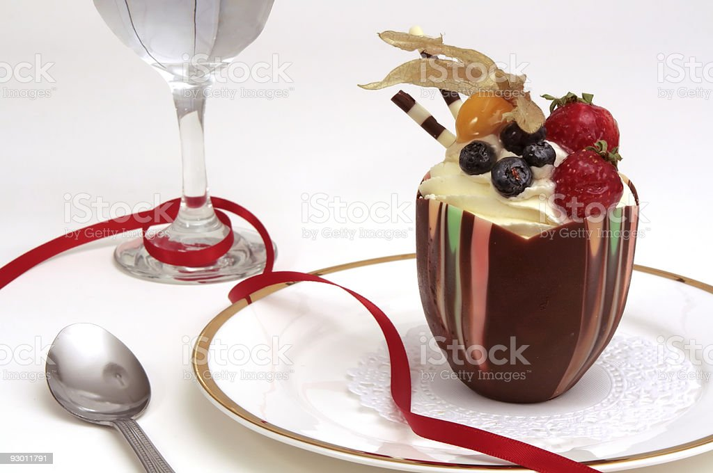 Festive chocolate fruit cupcake royalty-free stock photo