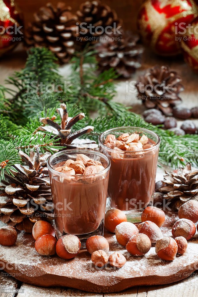 Festive chocolate mousse with nuts stock photo