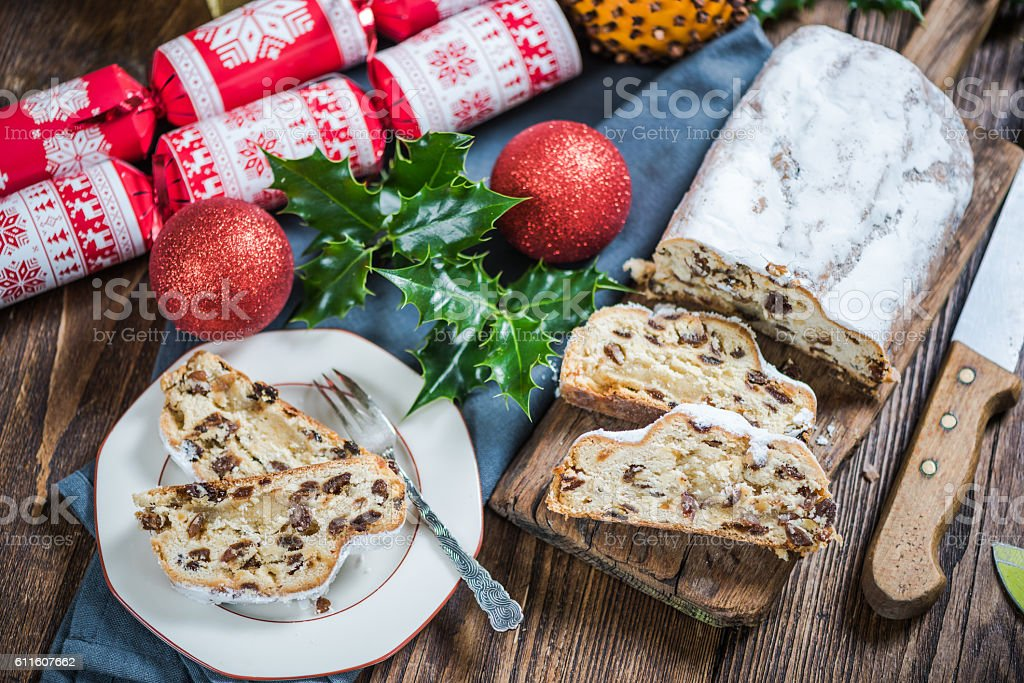 Festive Christmas cake, stollen with raisins stock photo