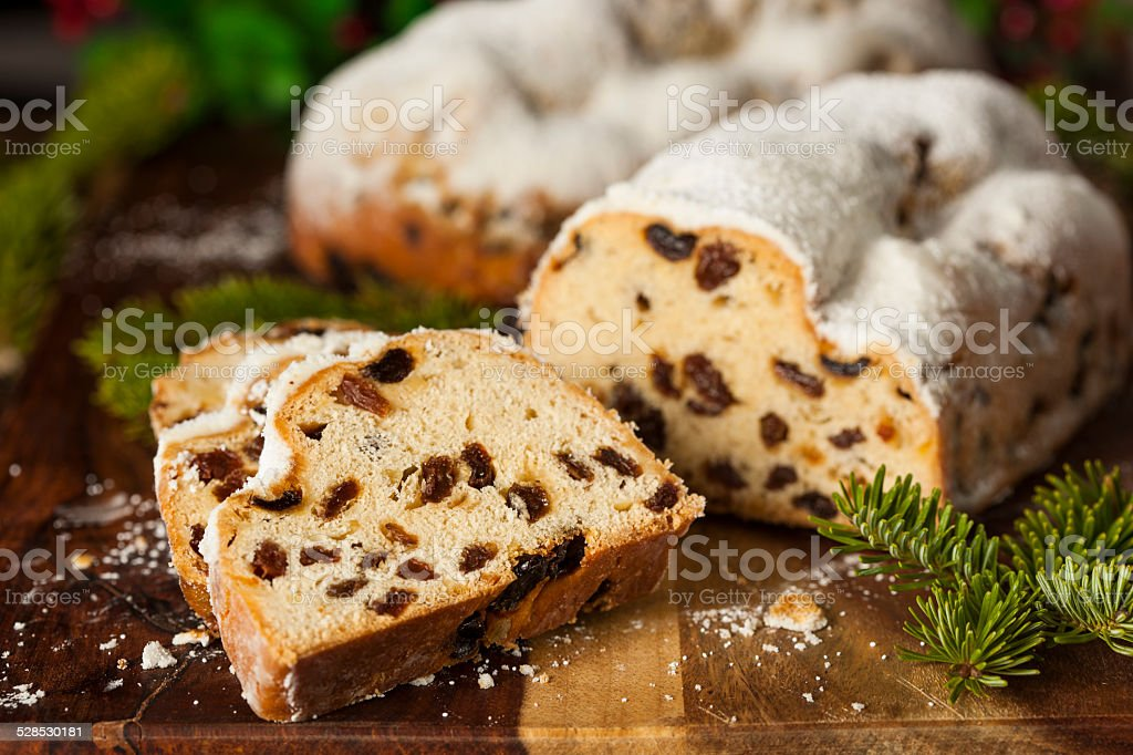 Festive Christmas German Stollen Bread stock photo