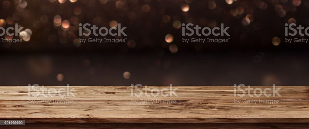 Festive Christmas Panorama with shimmering light stock photo