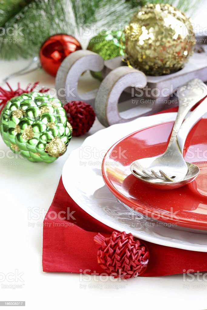 Festive Christmas table setting with decorations royalty-free stock photo