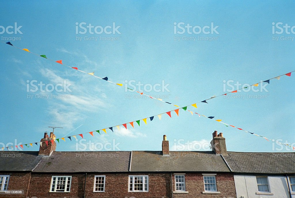 Festive colorful pennants stock photo