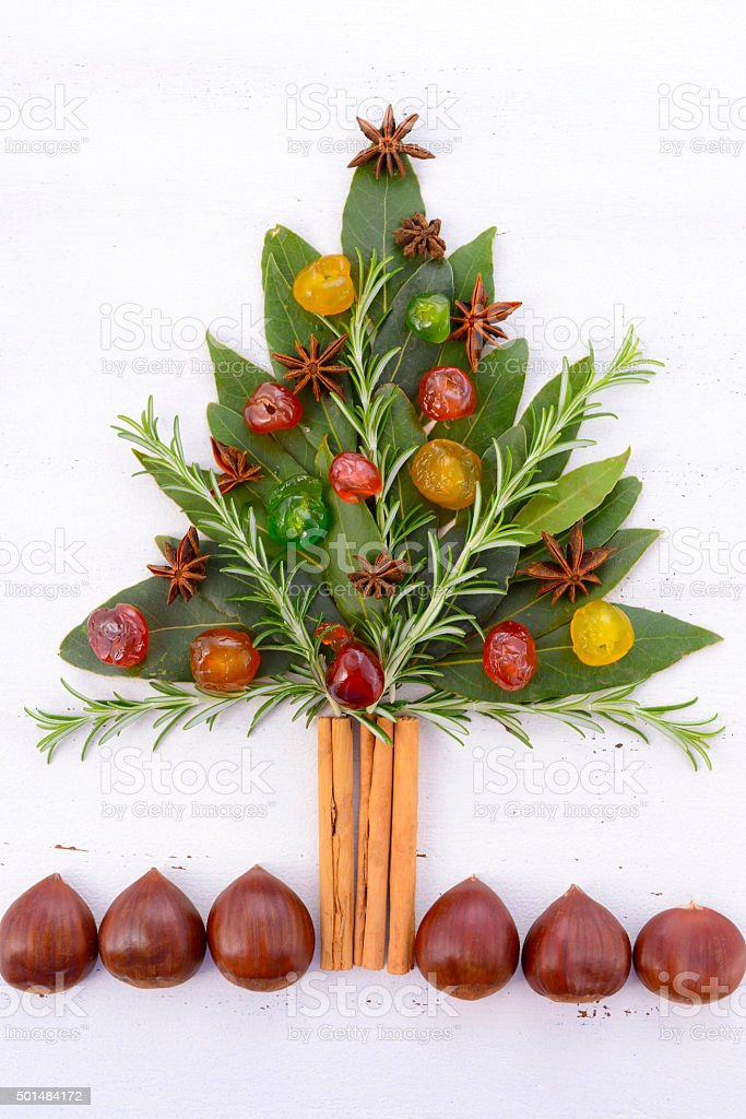 Festive cooking concept Christmas Tree stock photo