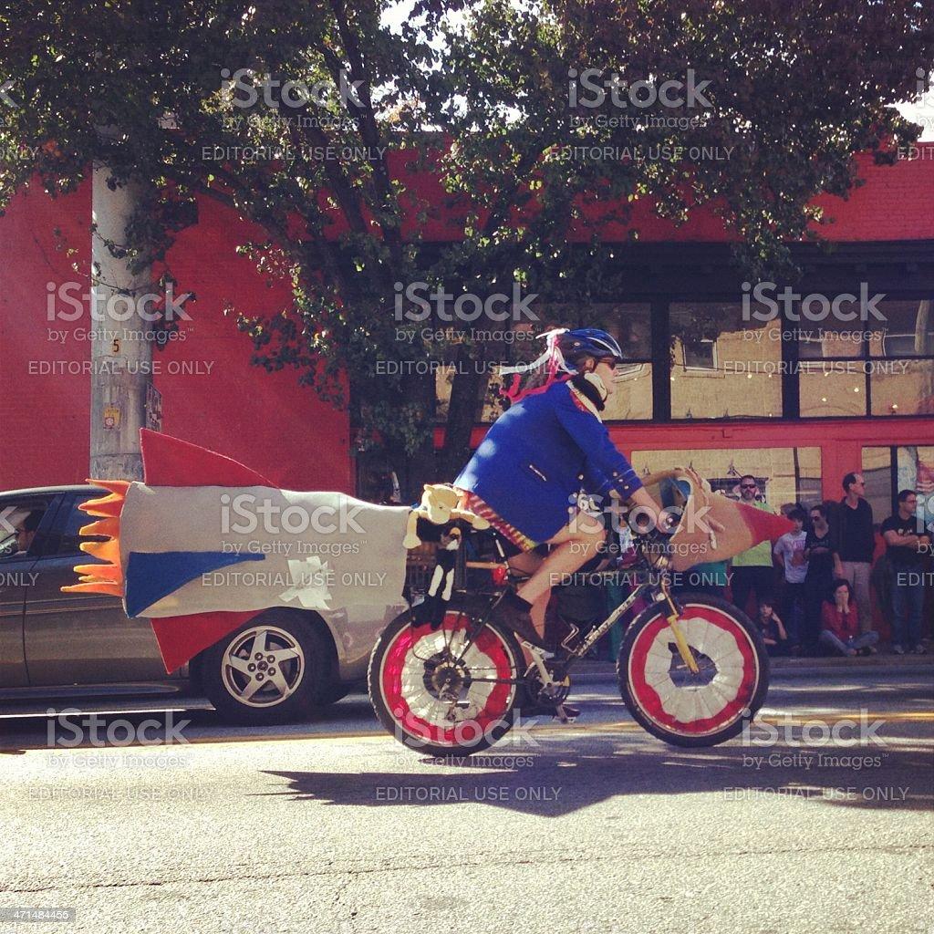 festive cyclist stock photo