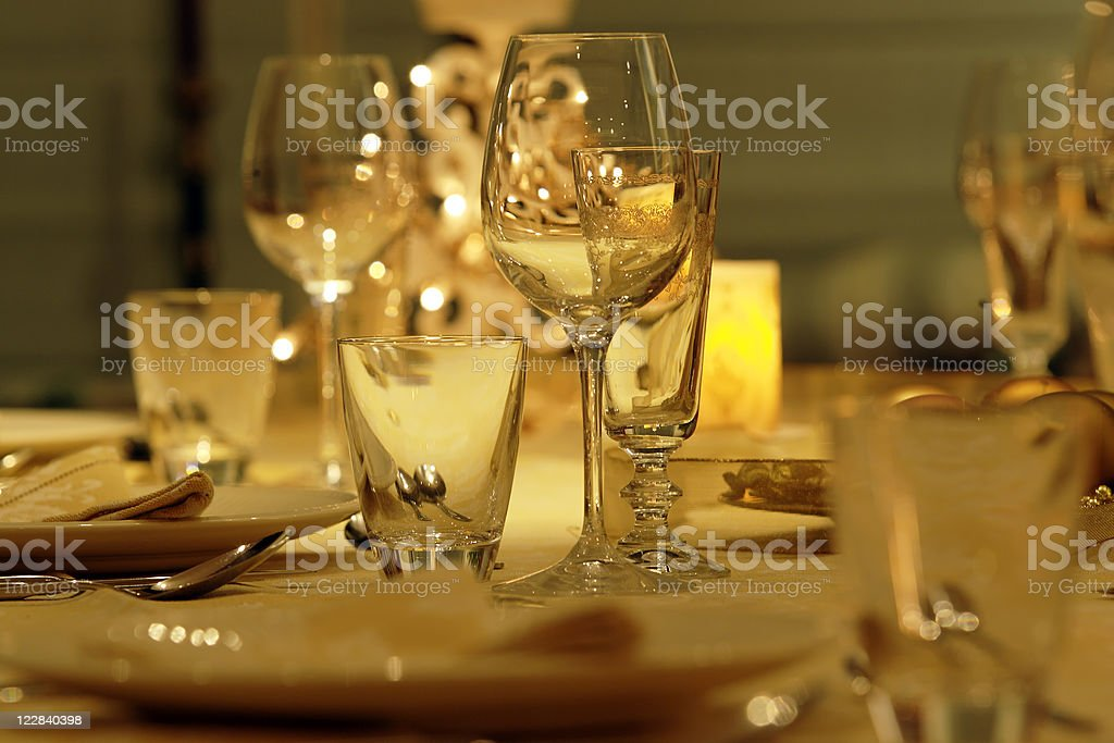 festive dinner table royalty-free stock photo