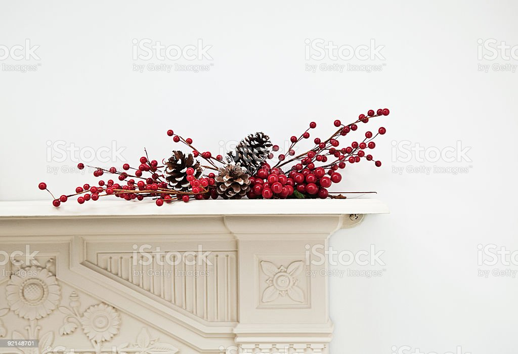 Festive display on mantlepiece royalty-free stock photo