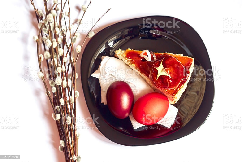 Festive Easter food on an isolated white background stock photo