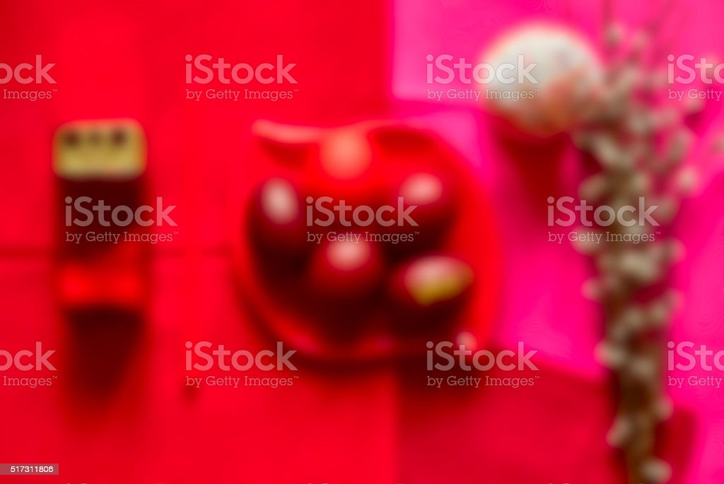 Festive Easter table, blurred background in red colour stock photo