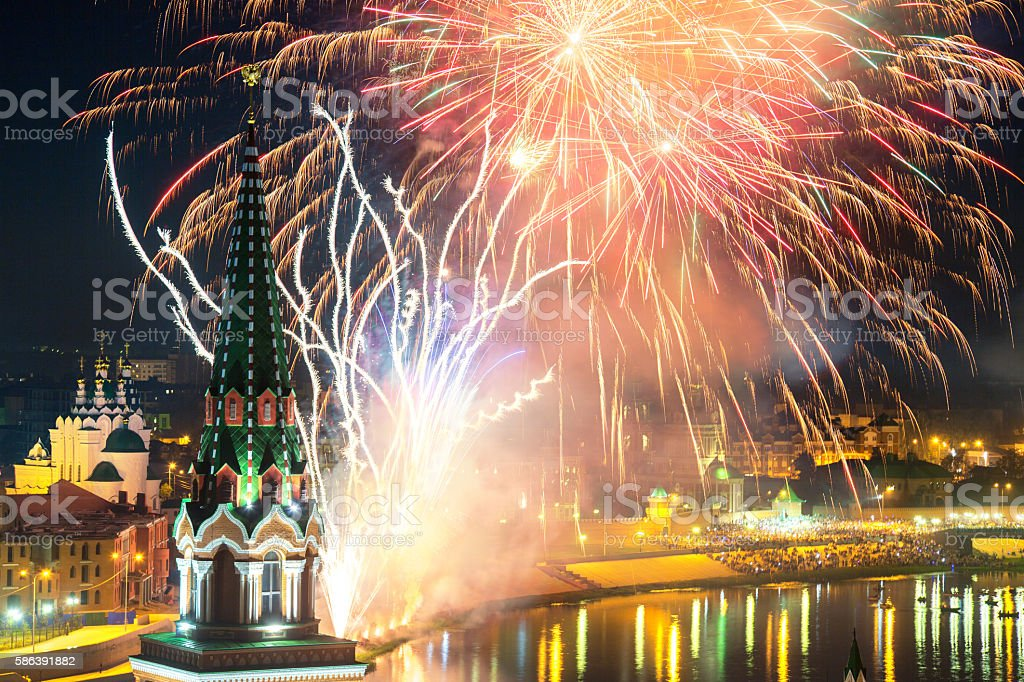 Festive Fireworks Over City stock photo
