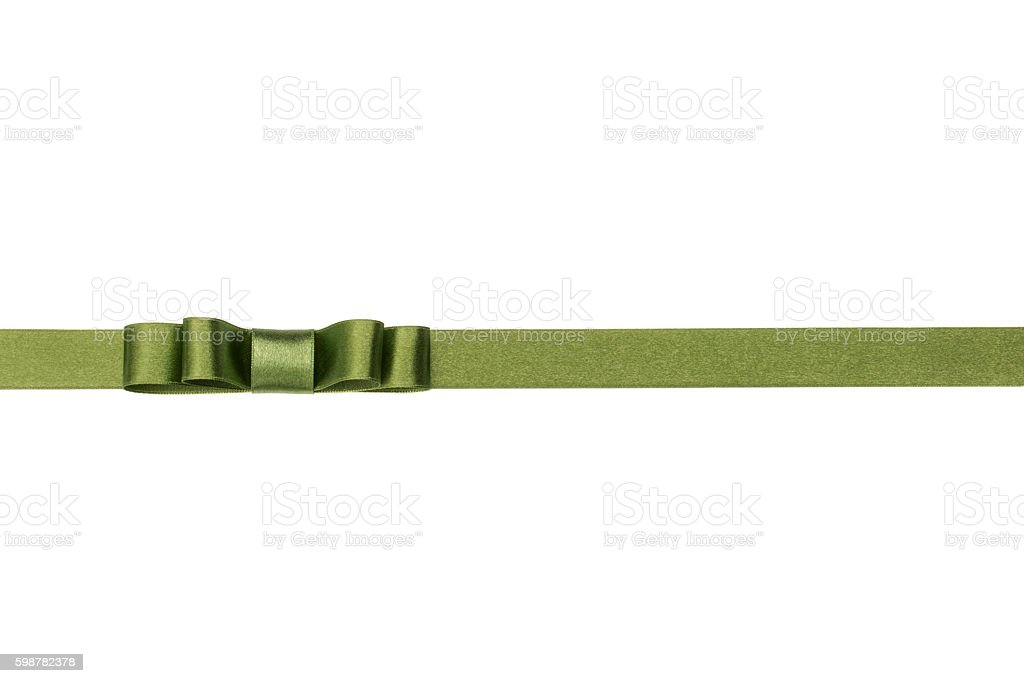 Festive green gift ribbon and bow isolated on white background stock photo