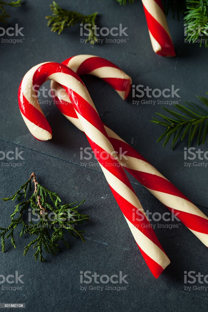 Festive Homemade Candy Canes stock photo