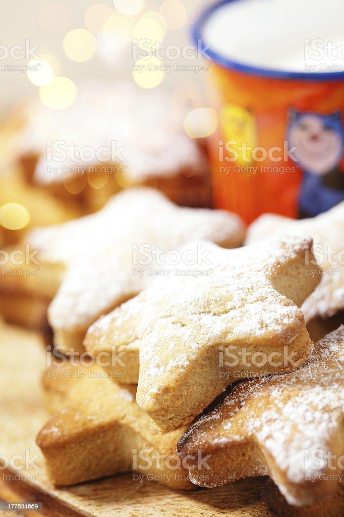 festive homemade gingerbread  star cookies stock photo