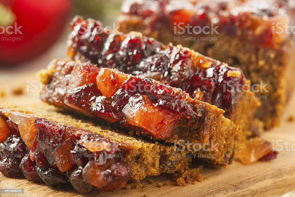 Festive Homemade Holiday Fruitcake stock photo
