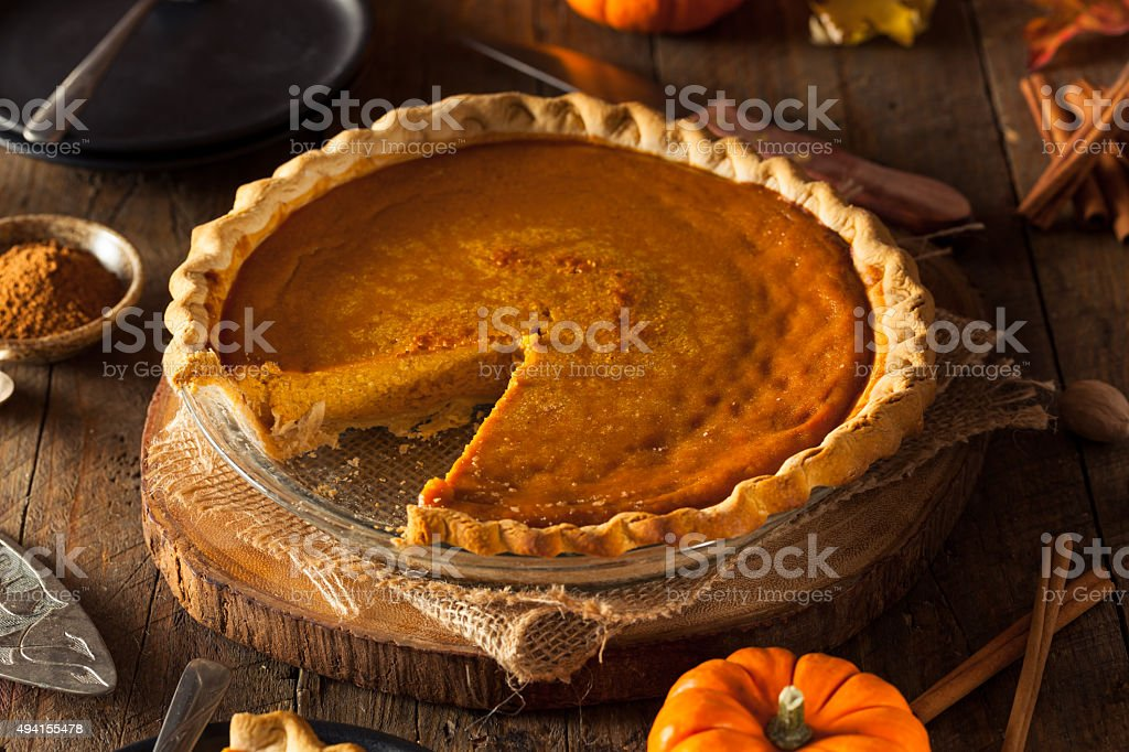 Festive Homemade Pumpkin Pie stock photo