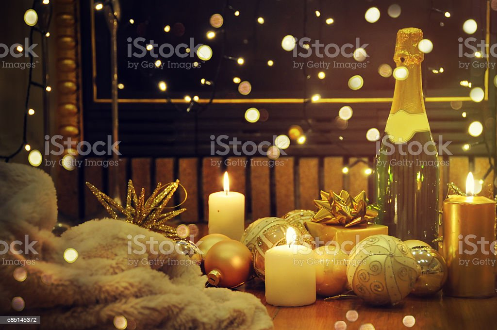 festive interior decoration for christmas and new year with bott stock photo