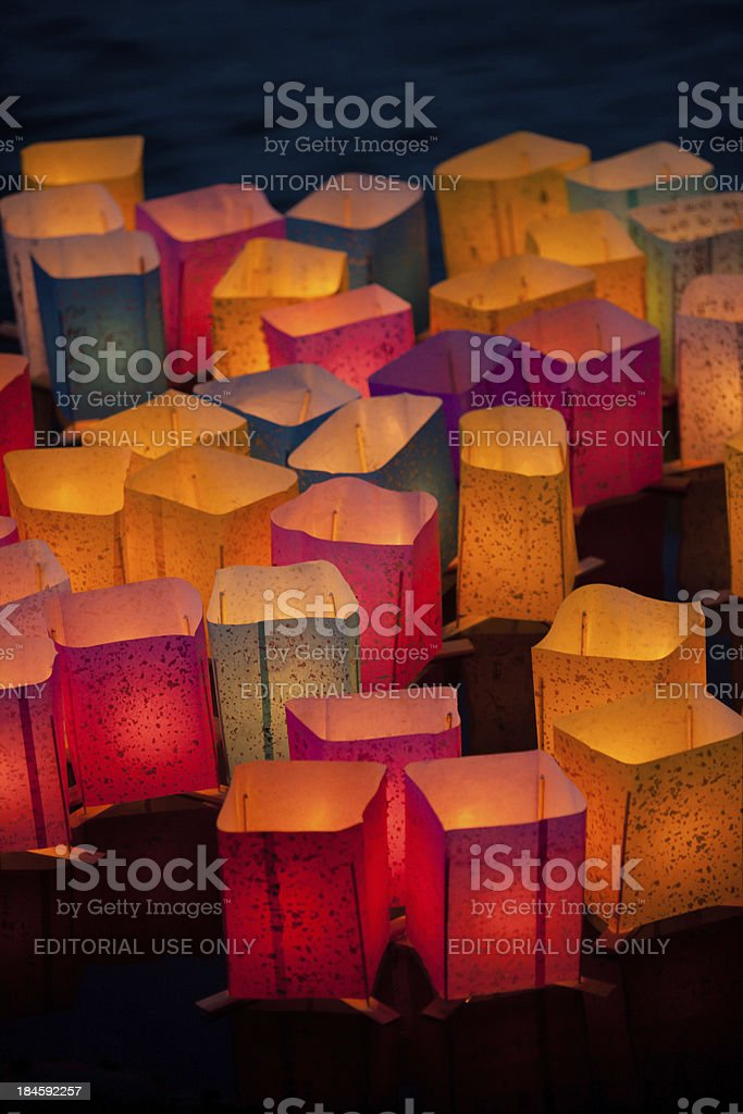 Festive, multicolored Japanese lanterns lighting the evening stock photo