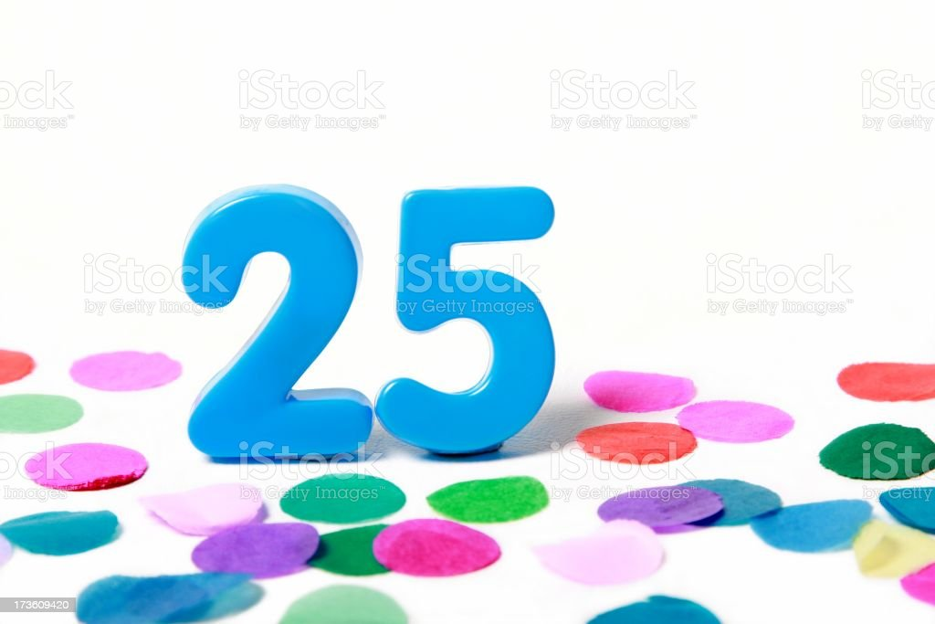 Festive Number 25 with Confetti royalty-free stock photo