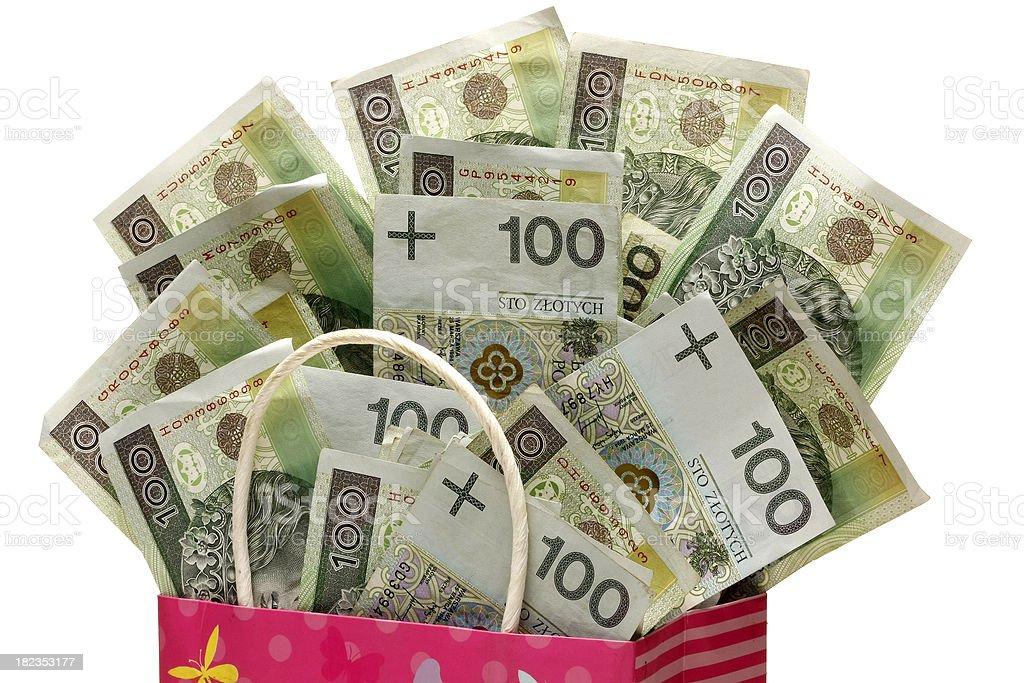 Festive present full of Polish money sticking out royalty-free stock photo