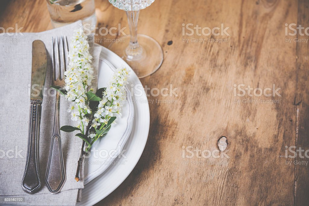 festive rustic table setting stock photo