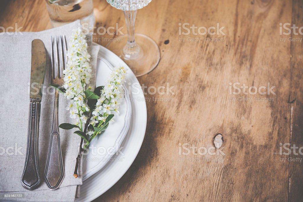 festive rustic table setting stock photo