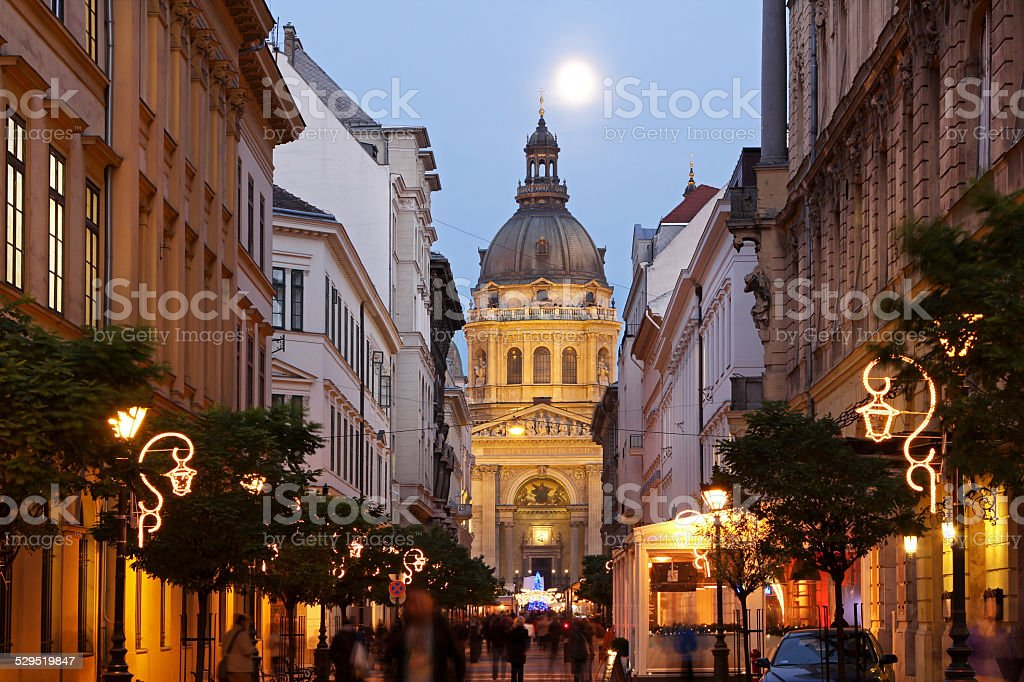 Festive street in Budapest stock photo