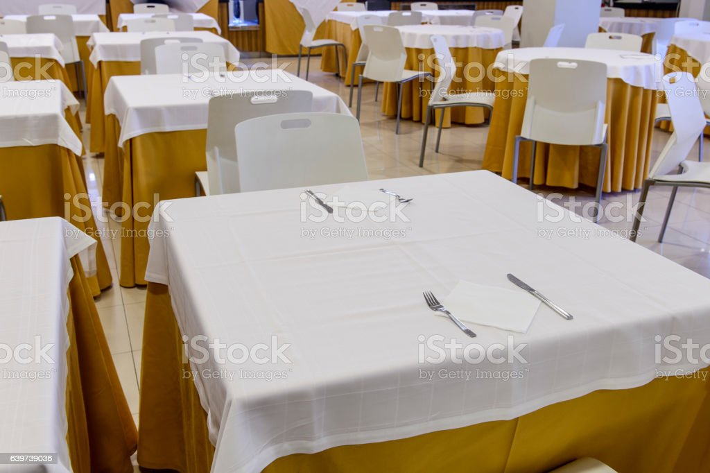 festive table setting banquet hall stock photo
