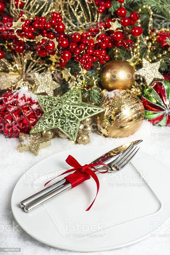 festive table setting christmas decoration. dinner invitation co stock photo