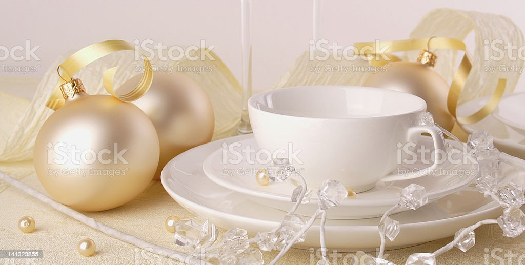 Festive table setting for Christmas royalty-free stock photo