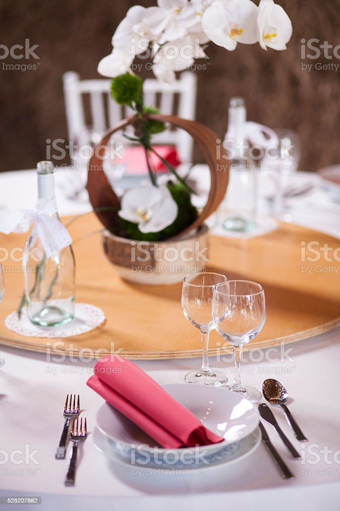 Festive table setting stock photo