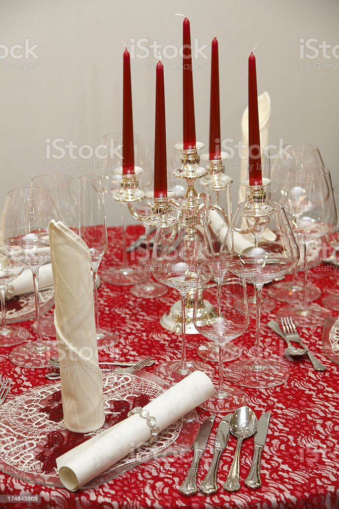 Festive table setting with candless royalty-free stock photo