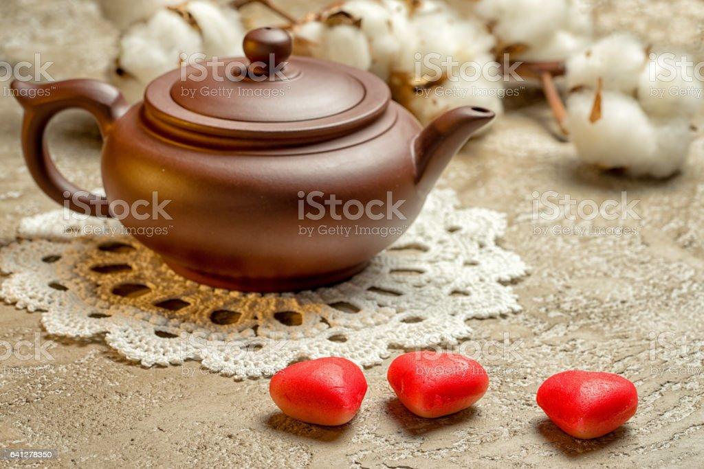 festive tea party Valentine's Day. stock photo