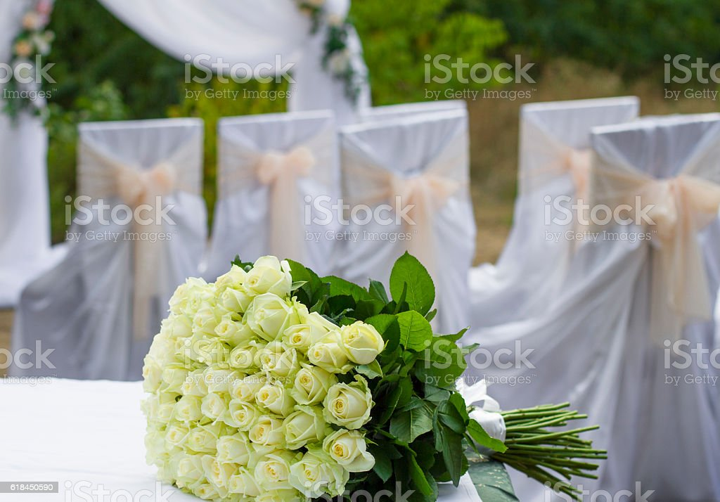 festive wedding bouquet made of flowers roses stock photo