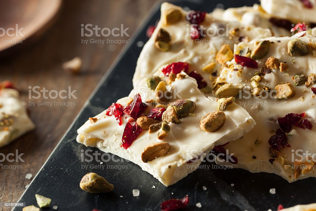 Festive White Chocolate Holiday Bark stock photo