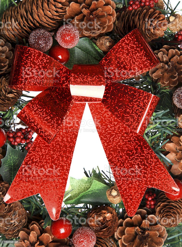 Festive wreath with bow royalty-free stock photo