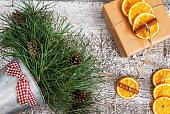 festive wreath with orange text and retro