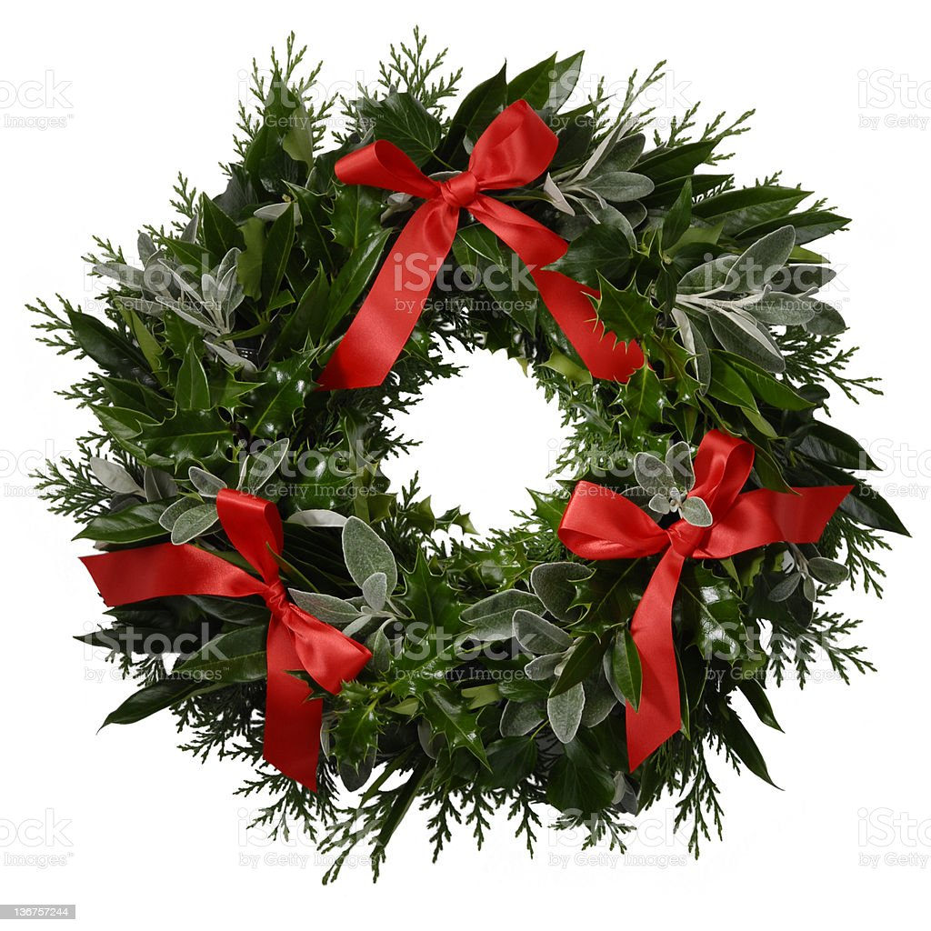 Festive wreath with ribbons - Isolated royalty-free stock photo