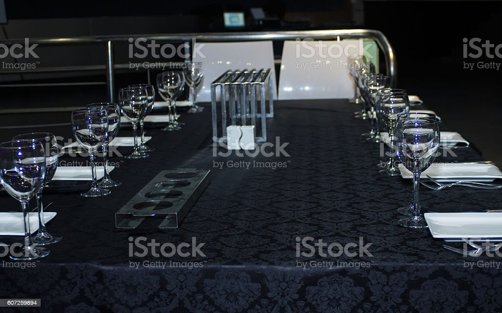 Festively decorated table . stock photo