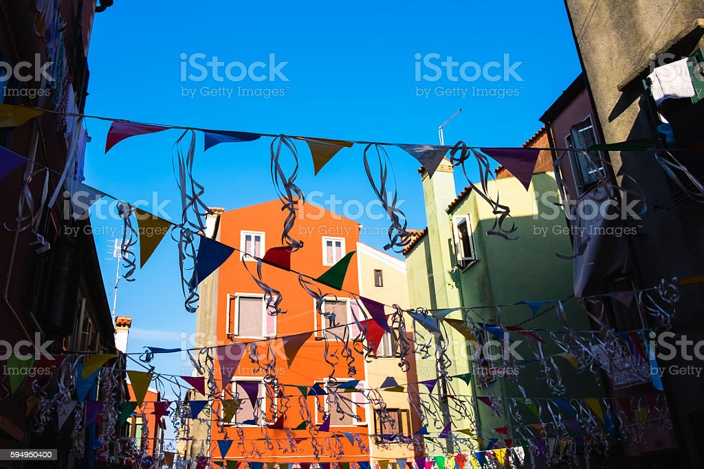 Festooned colorful in Pellestrina, Italy. stock photo
