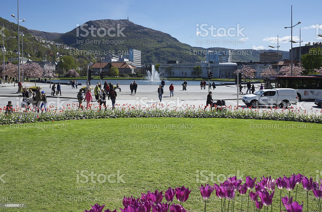 Festplassen Square, Lake Lille Lungegardsvannet and Ulriken Mountain in spring stock photo