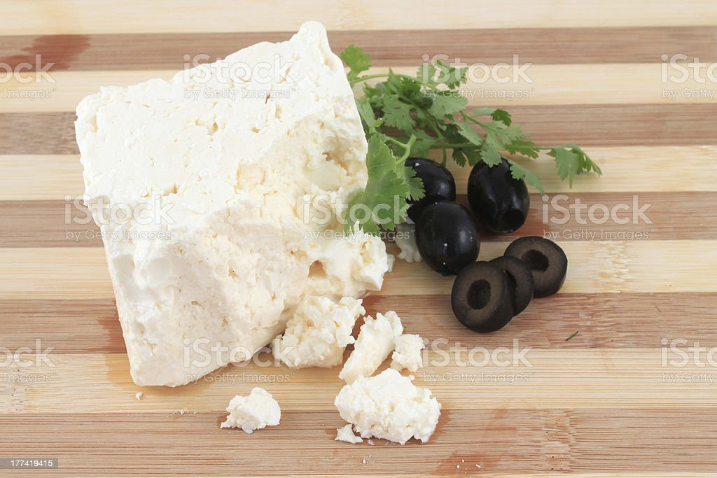 Feta cheese and olives stock photo
