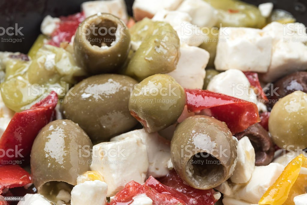 Feta cheese and olives salad stock photo