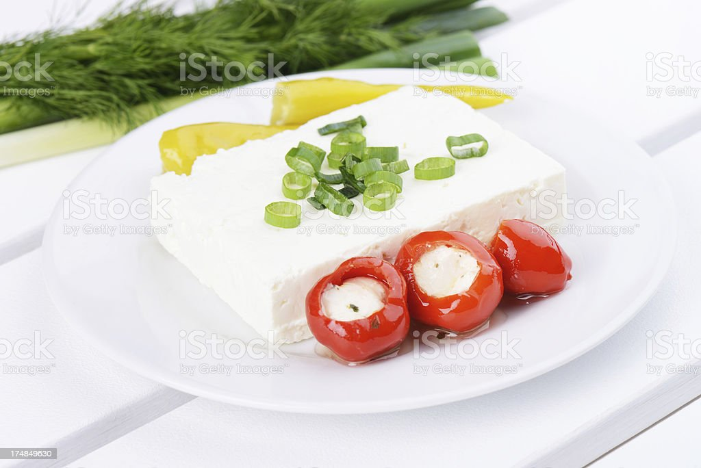 Feta cheese and stuffed pepper royalty-free stock photo